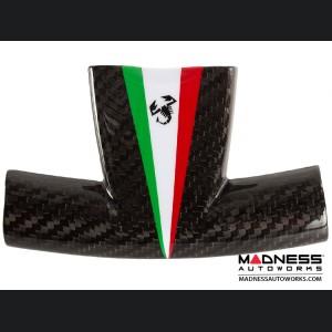 FIAT 500 ABARTH Steering Wheel Trim Set - Carbon Fiber Italian Racing Stripe w/ Black Scorpion