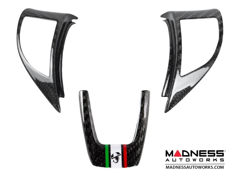 FIAT 500 Steering Wheel Trim Set (3 pieces) - Carbon Fiber Italian Flag w/ Black Scorpion