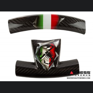 FIAT 500 ABARTH Steering Wheel Trim Set (2 pieces) - Carbon Fiber Italian Flag w/ Black Scorpion