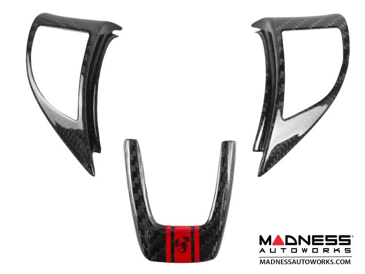 FIAT 500 ABARTH Steering Wheel Trim Set (3 pieces) - Carbon Fiber Red Racing Stripe w/ Black Scorpion