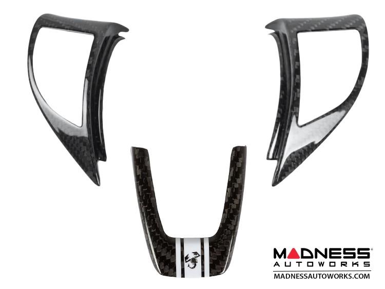 FIAT 500 ABARTH Steering Wheel Trim Set (3 pieces) - Carbon Fiber - White Racing Stripe w/ Scorpion