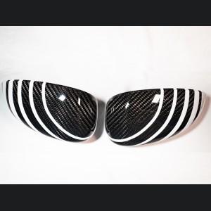 FIAT 500 Mirror Covers - Carbon Fiber - White Racing Stripe w/ Black Scorpion V2