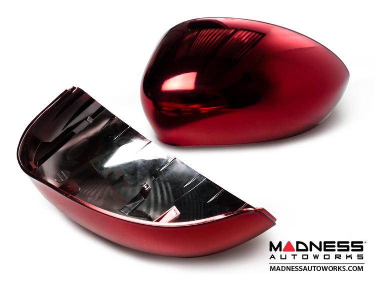 Fiat 500 Mirror Covers Red Metallic Chrome Finish Fiat