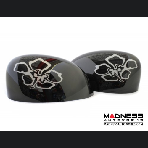 FIAT 500 Mirror Covers - Black Background & Ivory Flower Graphic