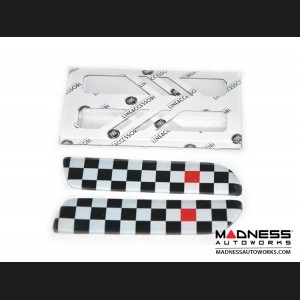 FIAT 500 Bodyside Moulding Inserts/ Badges/ Emblems (2) - B&W Checkered