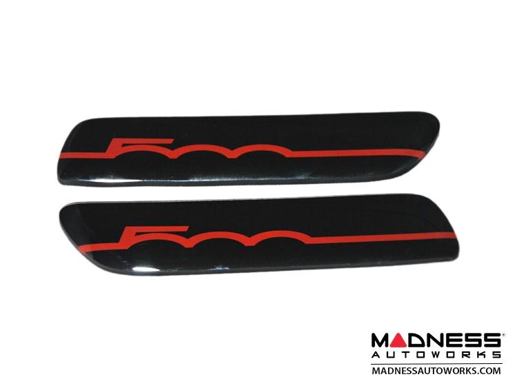 FIAT 500 Bodyside Moulding Inserts/ Badges/ Emblems (2) - 500 Logo in Black & Red