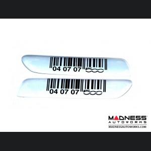 FIAT 500 Bodyside Moulding Inserts/ Badges/ Emblems (2) - White & Black UPC Design - Display Item