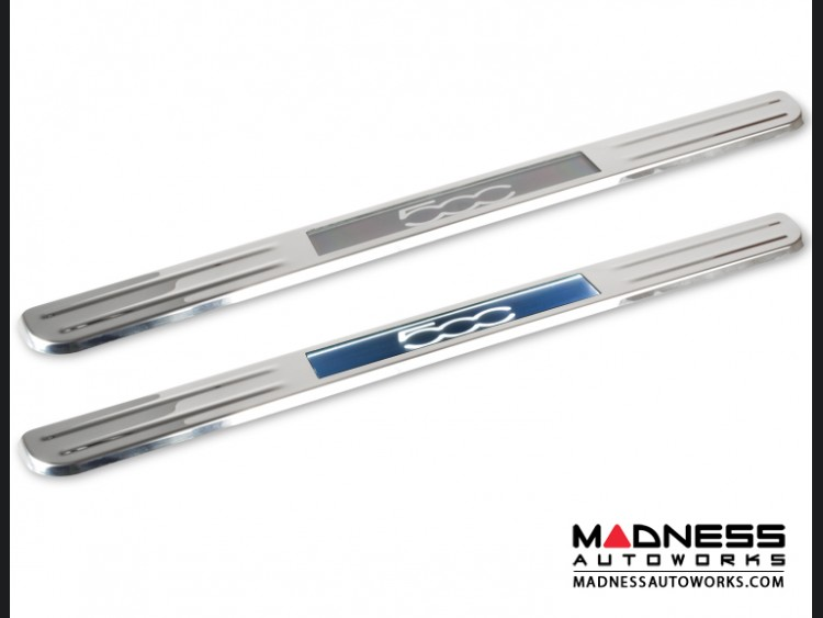 FIAT 500 Door Sills - Wireless LED Lighted - Polished SS w/ 500 Logo
