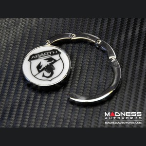Purse Hook - ABARTH Scorpion - Chrome w/ White Background & Black Logo