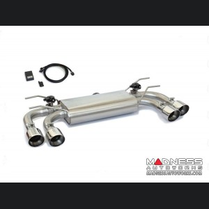 FIAT 124 Spider Performance Axle Back Exhaust by Ragazzon - Top Line - Electric Valves - Round Staggered Quad Tips
