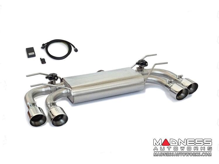 FIAT 124 Spider Performance Axle Back Exhaust - Ragazzon - Top Line - Electric Valves - Round Staggered Quad Tips
