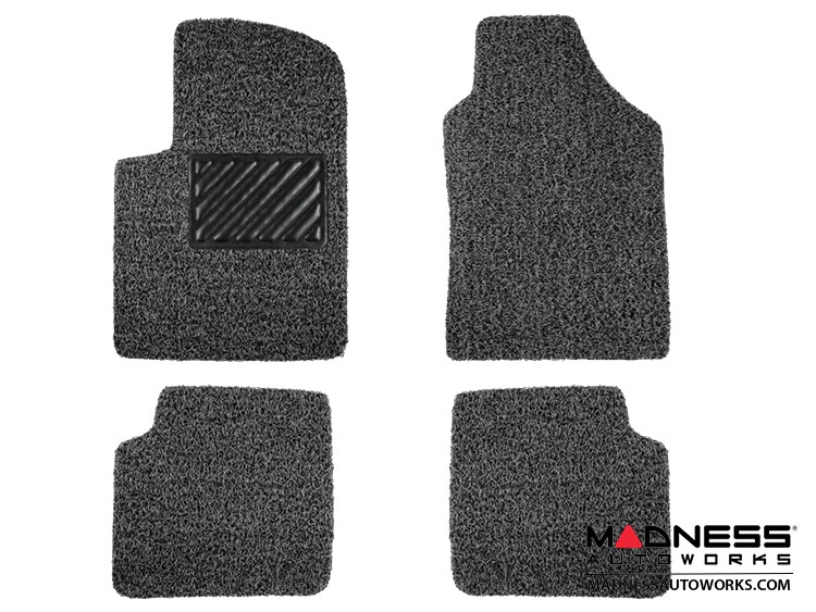 FIAT 500 Floor Mats - All Weather Rubber - Coiled PVC - Black/ Grey