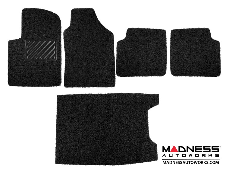 FIAT 500 Floor Mats + Cargo Mat - All Weather Rubber - Coiled PVC - Black