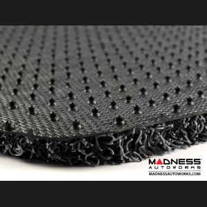 FIAT 500 Floor Mats + Cargo Mat - All Weather Rubber - Coiled PVC -Black/ Grey