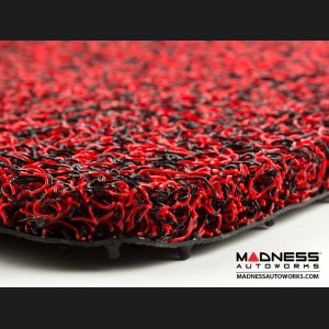 FIAT 500 All Weather Cargo Mat - Custom Rubber Woven Carpet - Red and Black