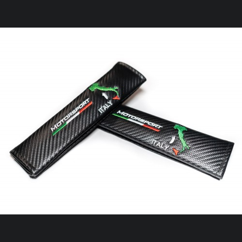 Seat Belt Shoulder Pads (2) - Carbon Fiber Weave w/ Boot of Italy + Flag