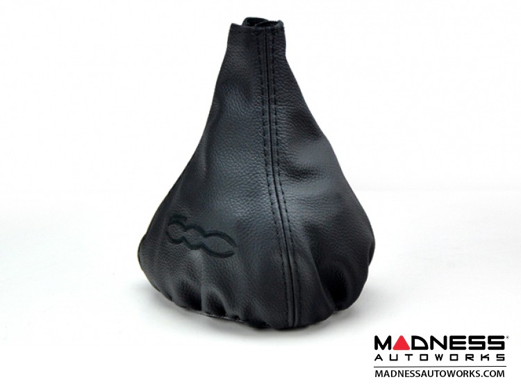 FIAT 500 Gear Shift Boot - Black Leather w/ Black Stitching and 500 Logo