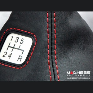 FIAT 500 Gear Shift Boot - Black Leather w/ Red Stitching and Gear Shift Pattern Emblem