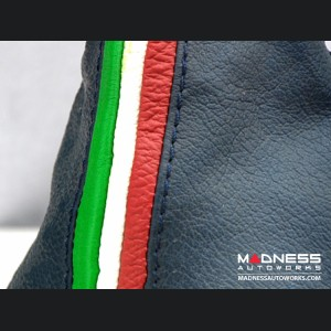 FIAT 500 Gear Shift Boot - Blue Leather w/ Italian Stripes