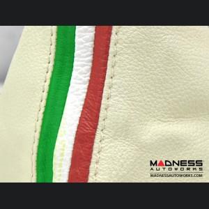 FIAT 500 Gear Shift Boot - Ivory Leather w/ Italian Stripe