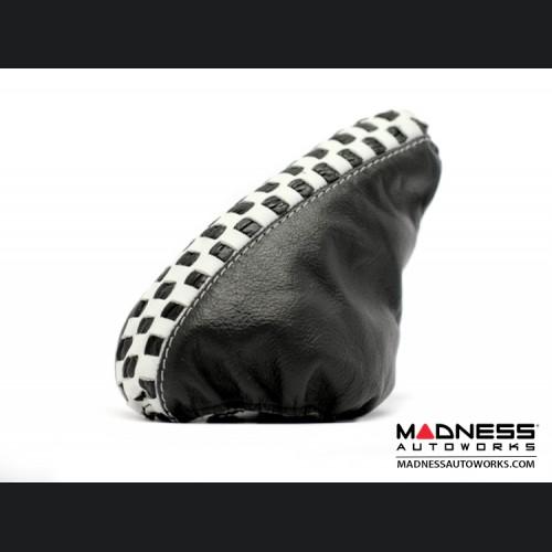 FIAT 500 eBrake Boot - Black Leather w/ White Checker Design