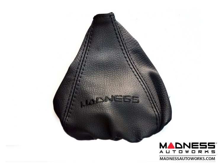 FIAT 500 Gear Shift Boot - Black Leather w/ Black Stitching and MADNESS Logo