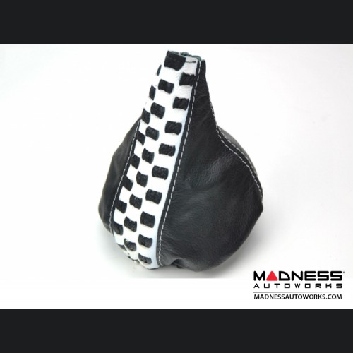 FIAT 500 Gear Shift Boot - Black Leather w/ Checkered Black and White Stripe