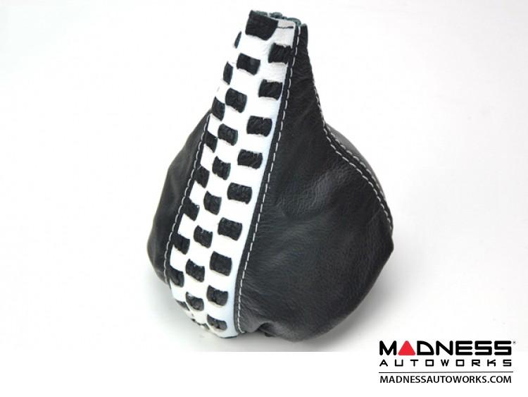 FIAT 500 Gear Shift Boot - Black Leather w/ Checkered Black and White Stripe