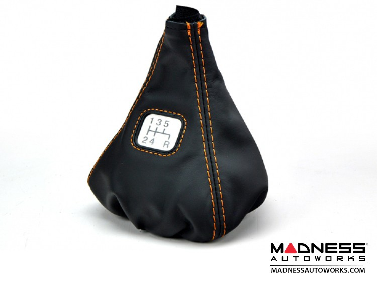 FIAT 500 Gear Shift Boot - Black Leather w/ Orange and Gear Shift Pattern