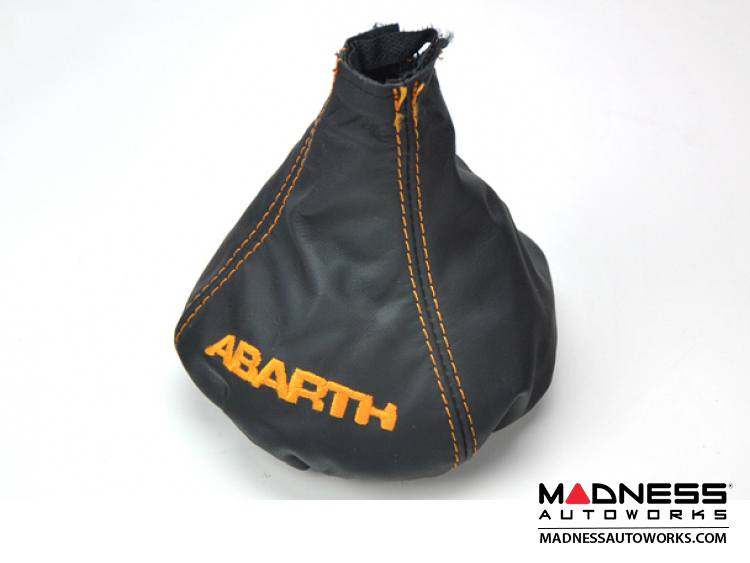 FIAT 500 Gear Shift Boot - Black Leather w/ Orange Stitching and ABARTH Logo