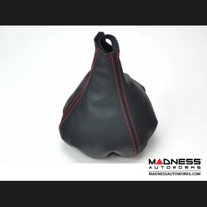 FIAT 500 Gear Shift Boot - Black Leather w/ Red Stitching and Gear Shift pattern