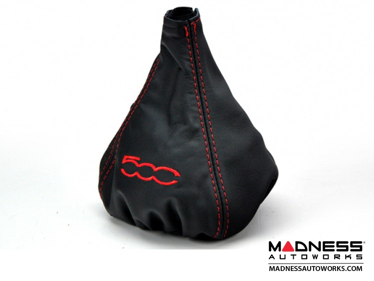 FIAT 500 Gear Shift Boot - Black Leather w/ Red Stitching and 500 Logo