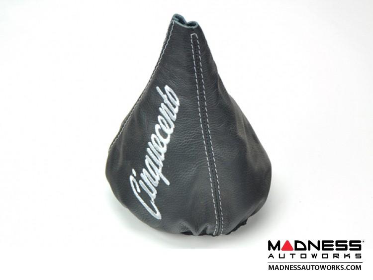 FIAT 500 Gear Shift Boot  - Black Leather w/ Cinquecento Logo + Stitching in Silver