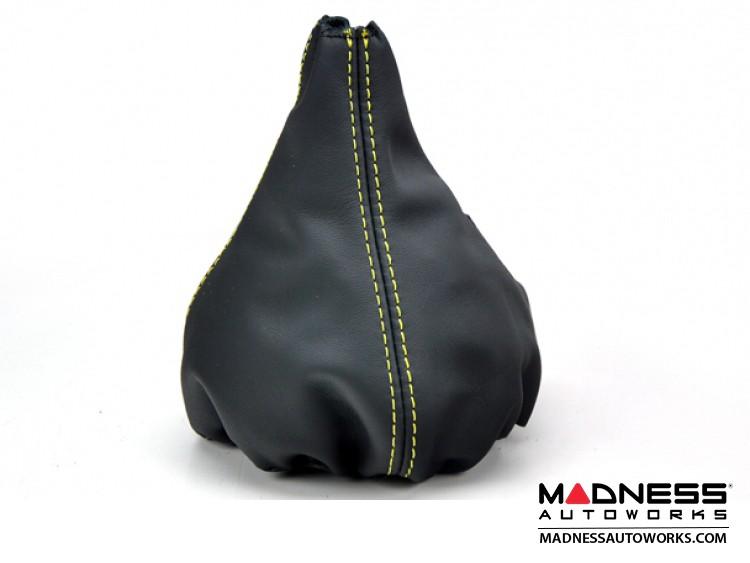FIAT 500 Gear Shift Boot - Black Leather w/ Yellow Stitching