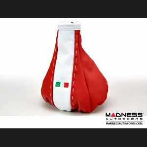 FIAT 500 Gear Shift Boot - Red and White Leather - Tuxedo w/ Italian Flag
