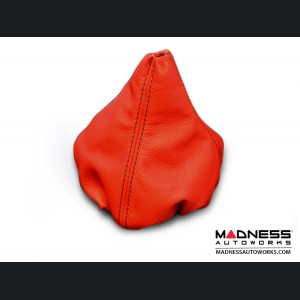 FIAT 500 Gear Shift Boot - Red Leather w/ Black Stitching