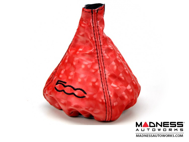 FIAT 500 Gear Shift Boot - Red Leather w/ Carbon Square Effect and 500 Logo