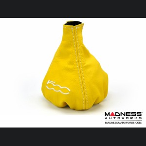 FIAT 500 Gear Shift Boot - Yellow Leather w/ 500 Logo