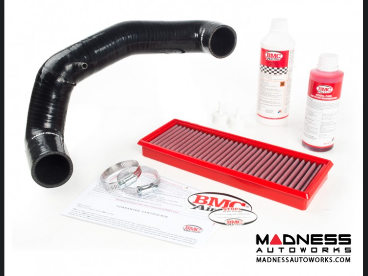 FIAT 500 Air Filter Housing Upgrade Kit - 1.4L Multi Air Turbo Engine - Black Silicone w/ BMC Filter (2015 - on models)