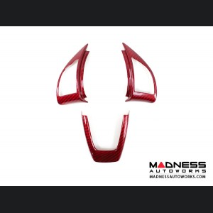 FIAT 500 ABARTH Steering Wheel Trim Set (3 pieces) - Carbon Fiber Red