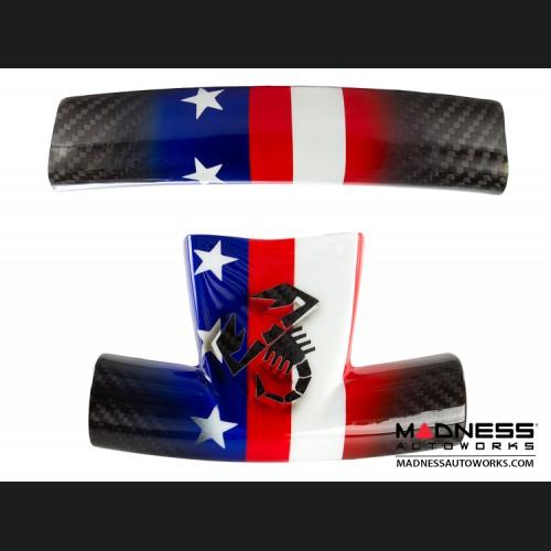 FIAT 500 ABARTH Steering Wheel Trim Set - Carbon Fiber American Flag w/ Black Scorpion
