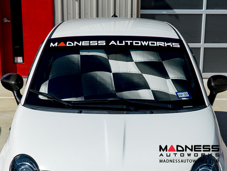 FIAT 500 Windshield Custom Sunshade - Racing Flag Design