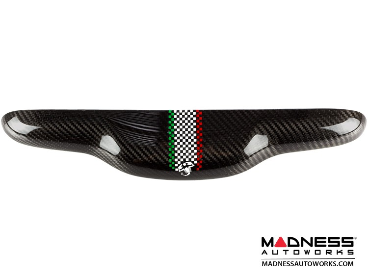 FIAT 500 Trunk Handle in Carbon Fiber - Italian Checked Flag Racing Stripe w/ White Scorpion