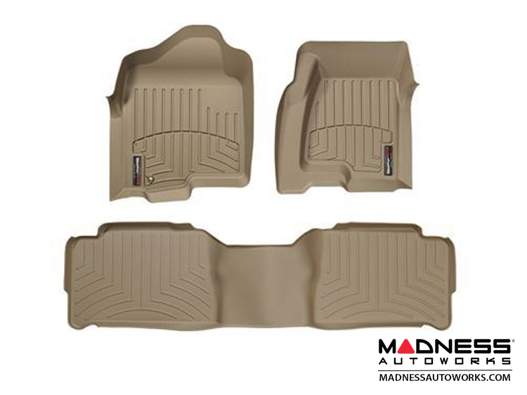 FIAT 500 Floor Liners - All Weather - WeatherTech - Front and Rear Set - Tan