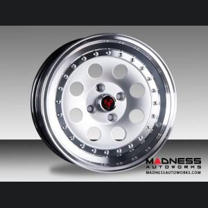 """FIAT 500 Custom Wheels - Senna - Hyper Silver Center w/ Polished Lip - 15"""""""