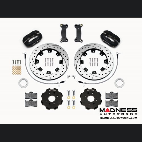 FIAT 124 Spider Brake Conversion Kit - Wilwood Dynalite 4 Piston Front Brake Kit (Black Calipers /  SRP Drilled & Slotted Rotors)