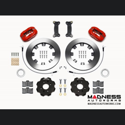 FIAT 124 Spider Brake Conversion Kit - Wilwood Dynalite 4 Piston Front Brake Kit (Red Calipers / Plain Face Rotors)