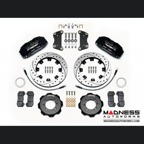 FIAT 500 Brake Conversion Kit - Wilwood Dynapro 6 Piston Front Brake Kit (Black Powder Coat Calipers / SRP Drilled & Slotted Rotors)