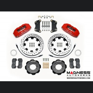 FIAT 500 Brake Conversion Kit - Wilwood Dynapro 6 Piston Front Brake Kit (Red Powder Coat Calipers / SRP Drilled & Slotted Rotors)