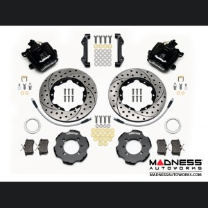 FIAT 500 Brake Conversion Kit - Wilwood Rear Brake Upgrade Kit (Black Powder Coated Calipers / Drilled & Slotted Rotors)